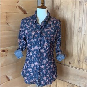 Band of Gypsies denim shirt with floral print M